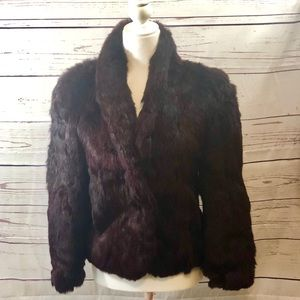 Burgundy Dyed Rabbit Fur Vintage Coat